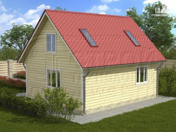 Фото 2: проект дачный дом 6х8 м из бруса, с балконом в мансарде