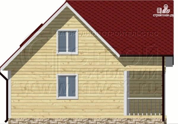 Фото 7: проект дачный дом 6х8 м из бруса, с балконом в мансарде