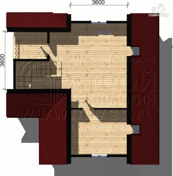 Фото 5: проект дачный дом 6х8 м из бруса, с балконом в мансарде