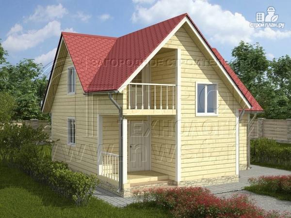 Фото: проект дачный дом 6х8 м из бруса, с балконом в мансарде