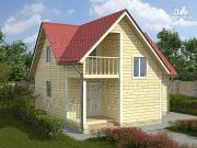 Фото: дачный дом 6х8 м из бруса, с балконом в мансарде