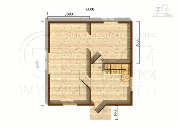 Фото 5: проект дачный дом 6х6 м полтора этажа с крыльцом