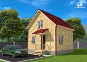 Проект дачный дом 6х6 м полтора этажа с крыльцом