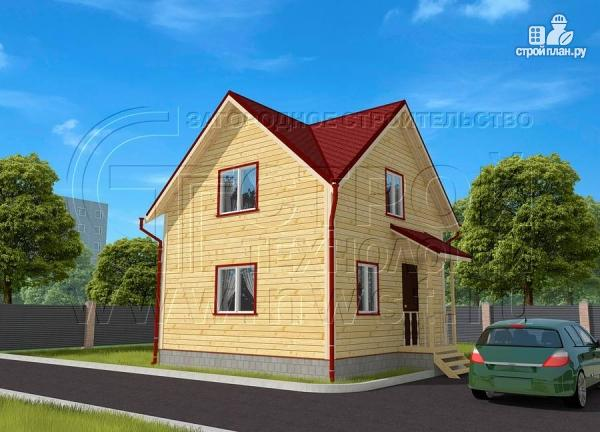 Фото 2: проект дачный дом 6х6 м полтора этажа с крыльцом