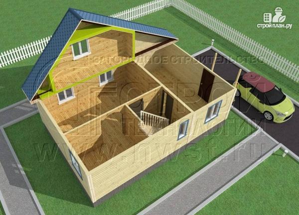 Фото 4: проект дачный брусовой дом 6х6 м с крыльцом