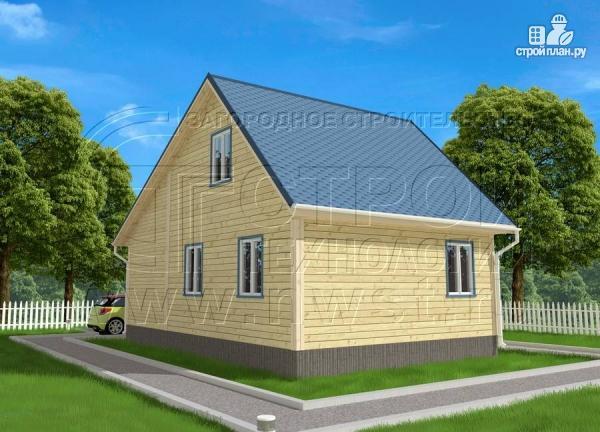 Фото 2: проект дачный брусовой дом 6х6 м с крыльцом