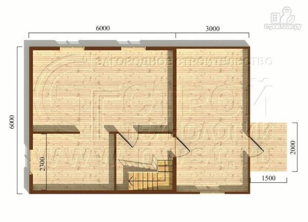 Фото 5: проект дачный брусовой дом 6х6 м с крыльцом