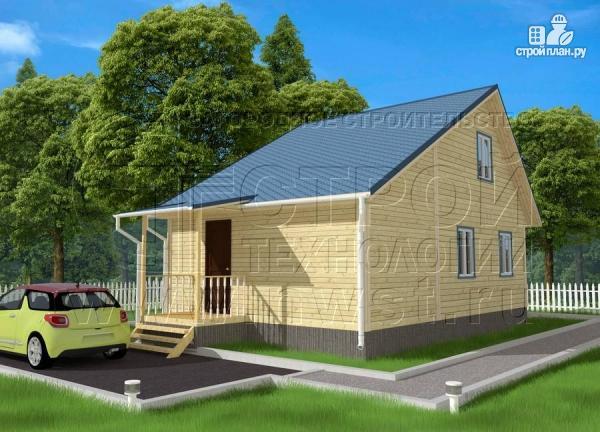 Фото 3: проект дачный брусовой дом 6х6 м с крыльцом