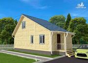 Проект дачный брусовой дом 6х6 м с крыльцом