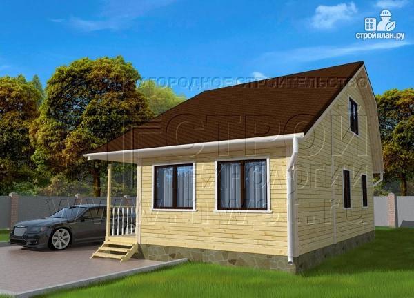 Фото 2: проект дачный дом 6х6 м с верандой