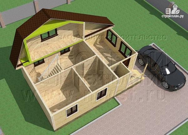 Фото 4: проект дачный дом 6х6 м с верандой