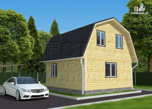 Фото 3: проект дачный дом 6х6 м с мансардой и угловой террасой