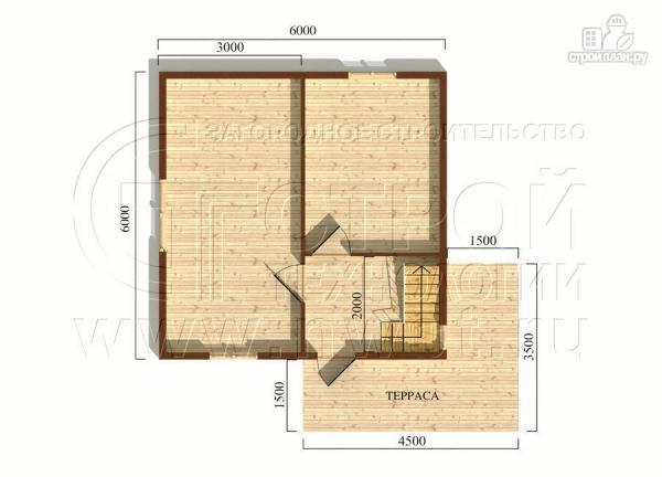 Фото 5: проект дачный дом 6х6 м с мансардой и угловой террасой