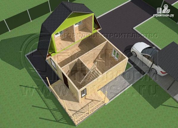 Фото 4: проект дачный дом 6х6 м с мансардой и угловой террасой