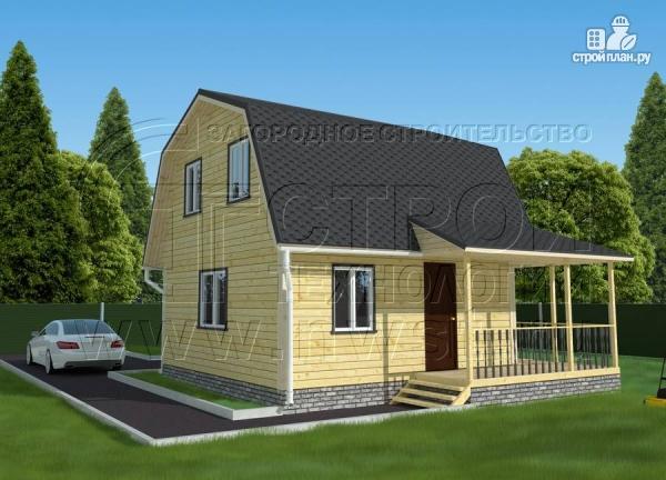 Фото: проект дачный дом 6х6 м с мансардой и угловой террасой