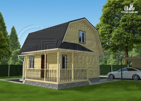 Фото 2: проект дачный дом 6х6 м с мансардой и угловой террасой
