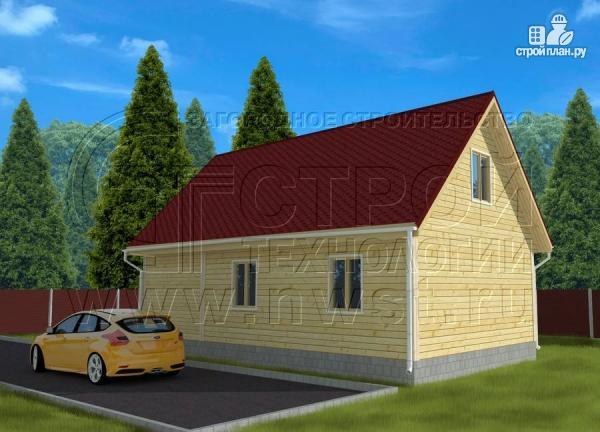 Фото 2: проект дачный дом 6х7 м с верандой и балконом