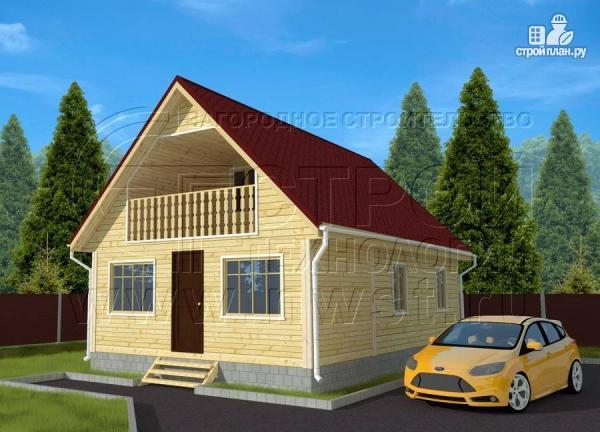 Фото: проект дачный дом 6х7 м с верандой и балконом