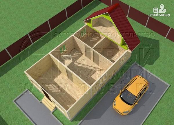 Фото 4: проект дачный дом 6х7 м с верандой и балконом