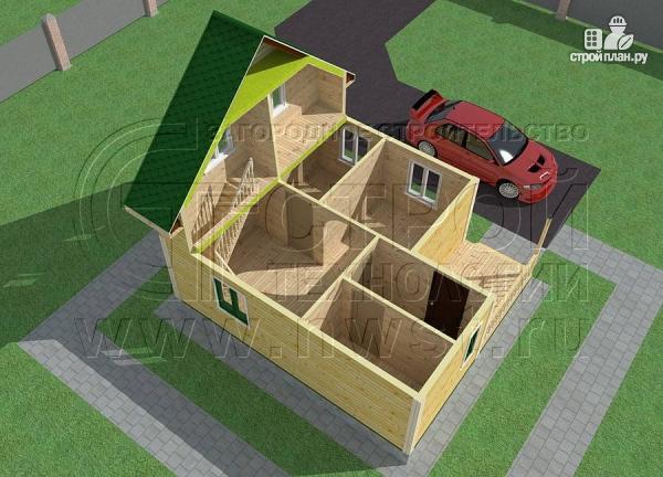 Фото 4: проект дачный дом 6х7 м с лоджией