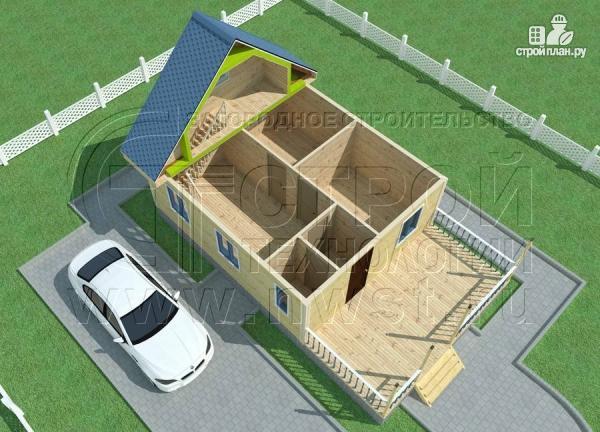 Фото 4: проект дачный дом 6х7 м с мансардой, террасой 18 м2и лоджией