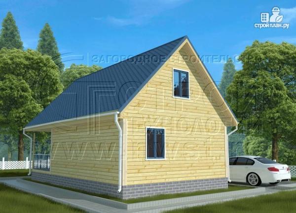 Фото 3: проект дачный дом 6х7 м с мансардой, террасой 18 м2и лоджией