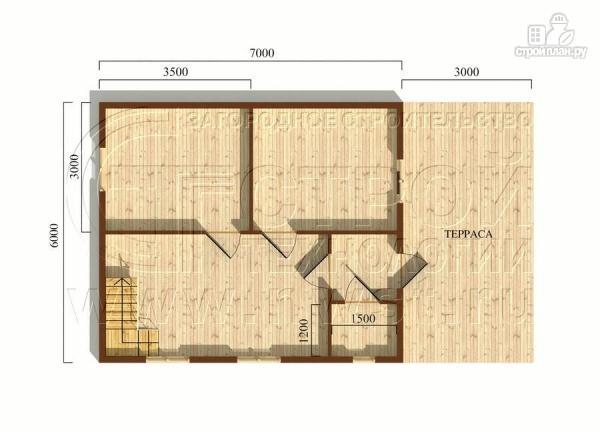 Фото 5: проект дачный дом 6х7 м с мансардой, террасой 18 м2и лоджией