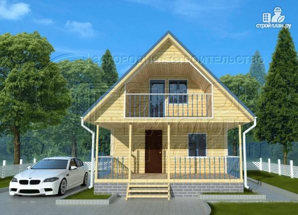 Фото: проект дачный дом 6х7 м с мансардой, террасой 18 м2и лоджией