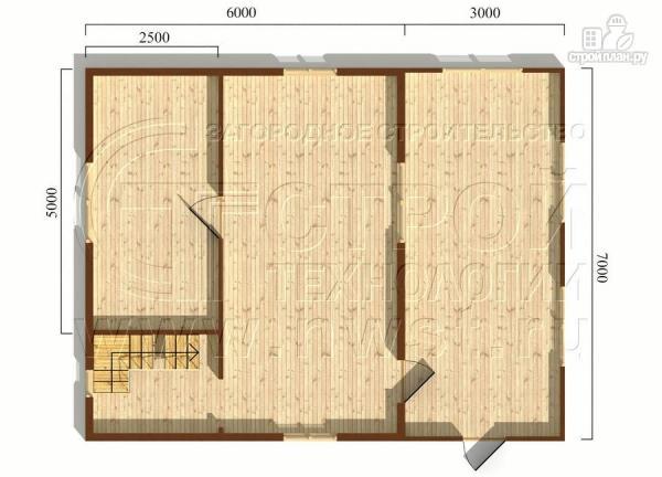 Фото 5: проект дачный брусовой дом 6х7 м с мансардой и верандой