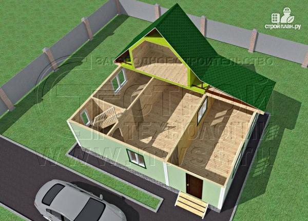 Фото 4: проект дачный брусовой дом 6х7 м с мансардой и верандой