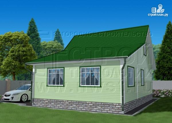 Фото 3: проект дачный брусовой дом 6х7 м с мансардой и верандой