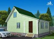 Проект дачный брусовой дом 6х7 м с мансардой и верандой