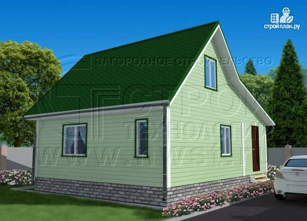 Фото 2: проект дачный брусовой дом 6х7 м с мансардой и верандой