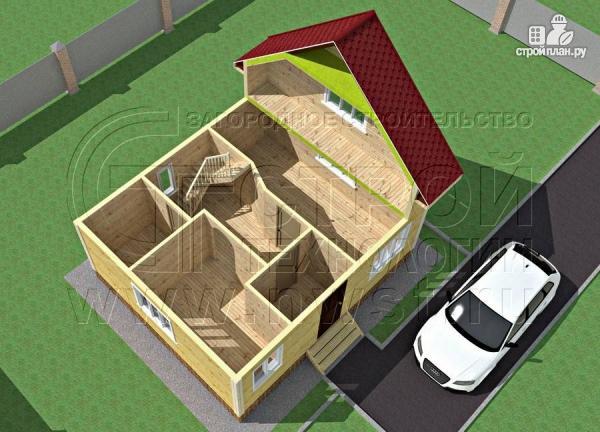 Фото 4: проект дом 6х7 м полтора этажа с балконом