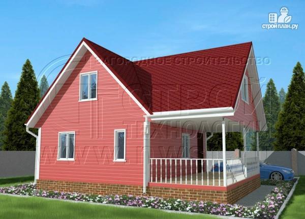 Фото 2: проект дачный дом 6х7 м с многощипцовой крышей и террасой 21 м2