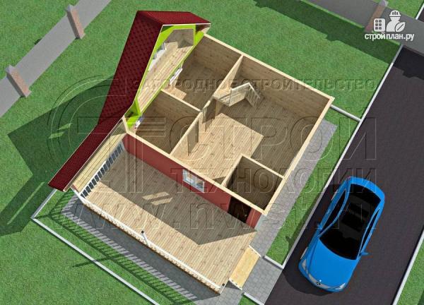 Фото 4: проект дачный дом 6х7 м с многощипцовой крышей и террасой 21 м2
