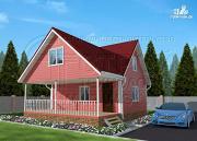 Фото: дачный дом 6х7 м с многощипцовой крышей и террасой 21 м2
