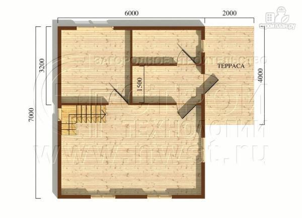 Фото 5: проект дачный дом 6х7 м полтора этажа с террасой