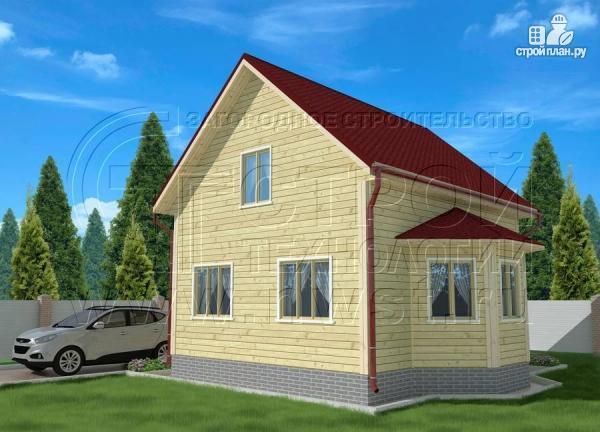 Фото 2: проект дачный дом 6х7 м полтора этажа с эркером и крыльцом