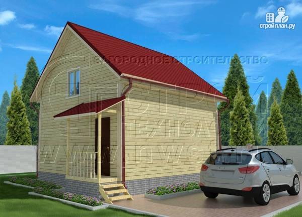 Фото 3: проект дачный дом 6х7 м полтора этажа с эркером и крыльцом