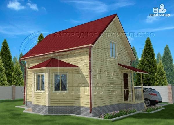 Фото: проект дачный дом 6х7 м полтора этажа с эркером и крыльцом