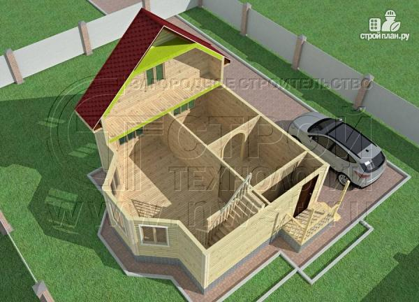 Фото 4: проект дачный дом 6х7 м полтора этажа с эркером и крыльцом