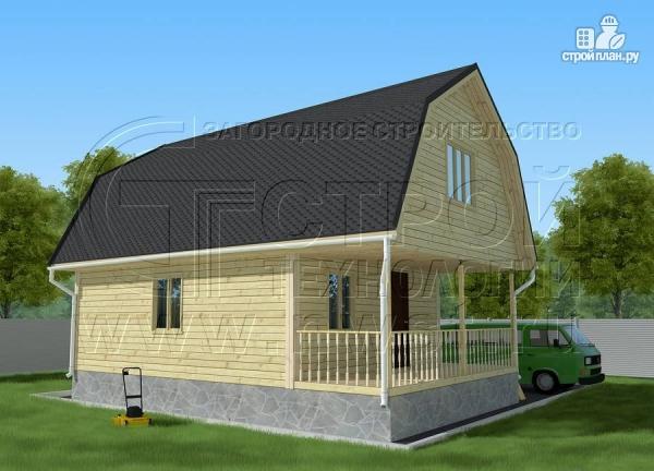 Фото 2: проект дачный брусовой дом 6х7 м с террасой
