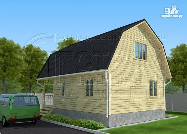 Фото 3: проект дачный брусовой дом 6х7 м с террасой