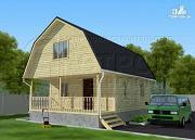 Фото: дачный брусовой дом 6х7 м с террасой