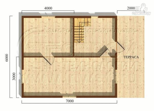 Фото 5: проект дачный брусовой дом 6х7 м с террасой