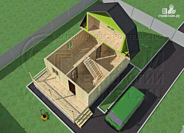 Фото 4: проект дачный брусовой дом 6х7 м с террасой
