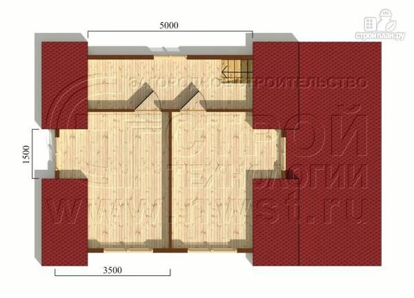 Фото 6: проект дачный дом 6х7 м из бруса с мансардой и террасой 15 м2