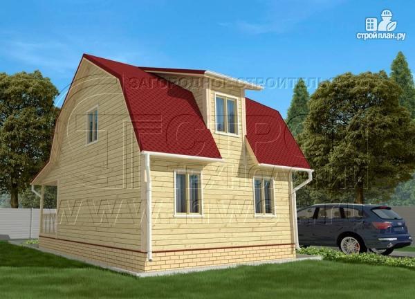 Фото 3: проект дачный дом 6х7 м из бруса с мансардой и террасой 15 м2