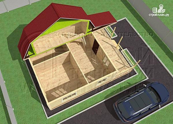Фото 4: проект дачный дом 6х7 м из бруса с мансардой и террасой 15 м2
